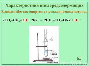 Характеристика кислородсодержащихВзаимодействие спиртов с металлическим натрием2