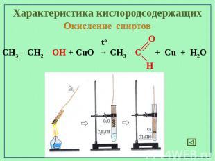 Характеристика кислородсодержащихОкисление спиртовCH3 – CH2 – OH + CuO → CH3 – C