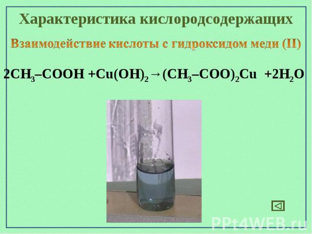 Характеристика кислородсодержащихВзаимодействие кислоты с гидроксидом меди (II)2СН3–СООН +Cu(OН)2→(СН3–СОО)2Cu +2H2O