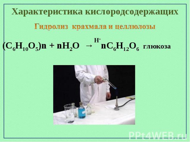 Характеристика кислородсодержащихГидролиз крахмала и целлюлозы(С6Н10О5)n + nН2О → nС6Н12О6 глюкоза