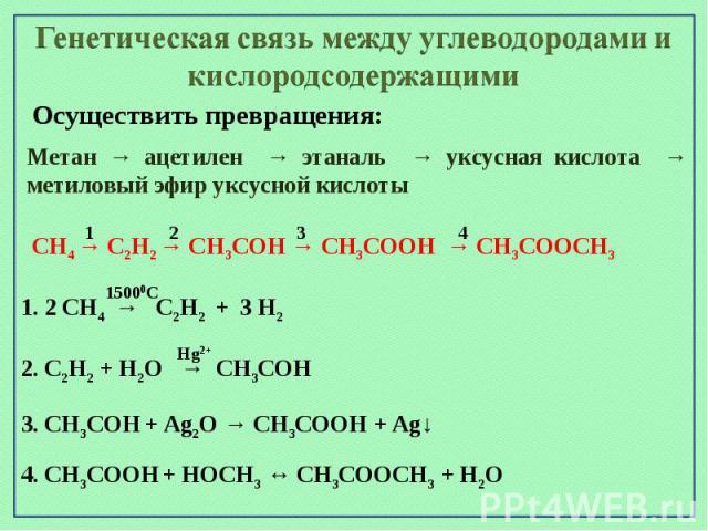 Генетическая связь между углеводородами и кислородсодержащимиОсуществить превращения:Метан → ацетилен → этаналь → уксусная кислота → метиловый эфир уксусной кислоты CH4 → С2Н2 → СН3СОН → СН3СООН → СН3СООСН3