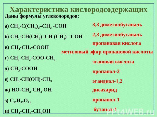 Характеристика кислородсодержащихДаны формулы углеводородов: а) CH3-C(CH3)2–CH2 -CОH б) CH3-CН(CH3)–CH (CH3)– CОH в) CH3-CH2-CООH г) CH3-CH2-CОО-CH3 д) CH3-CООH е) CH3-CН(ОН)-CH3 ж) HО-CH2-CH2-ОН з) C12H22О11 и) CH3-CH2-CН2ОH к) CH3-CH2-CH2-CН2ОH