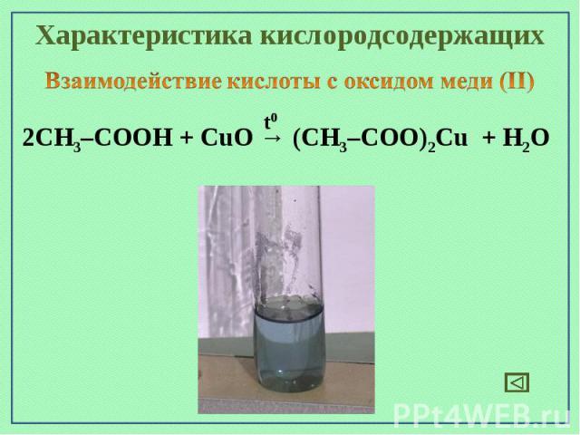 Характеристика кислородсодержащихВзаимодействие кислоты с оксидом меди (II)2СН3–СООН + CuO → (СН3–СОО)2Cu + H2O