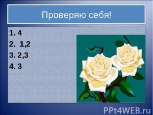Проверяю себя!1. 42. 1,23. 2,34. 3