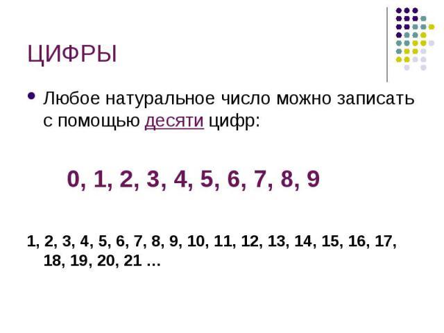 ЦИФРЫ Любое натуральное число можно записать с помощью десяти цифр: 0, 1, 2, 3, 4, 5, 6, 7, 8, 91, 2, 3, 4, 5, 6, 7, 8, 9, 10, 11, 12, 13, 14, 15, 16, 17, 18, 19, 20, 21 …