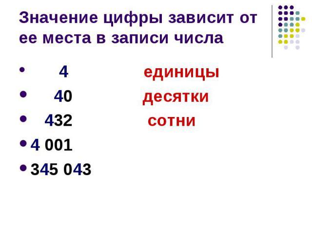 Значение цифры зависит от ее места в записи числа 4 единицы 40 десятки 432 сотни 4 001 345 043
