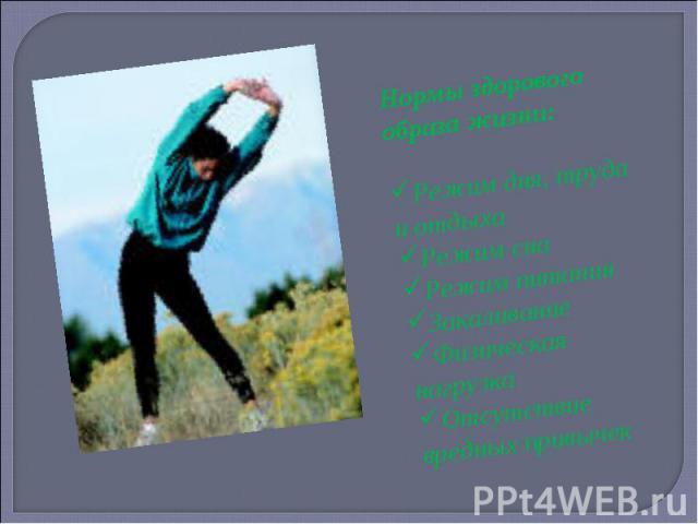 Нормы здорового образа жизни:Режим дня, труда и отдыхаРежим снаРежим питанияЗакаливаниеФизическая нагрузкаОтсутствие вредных привычек