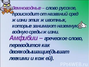 Земноводные – слово русское, происходит от названий сред жизни этих животных, ко