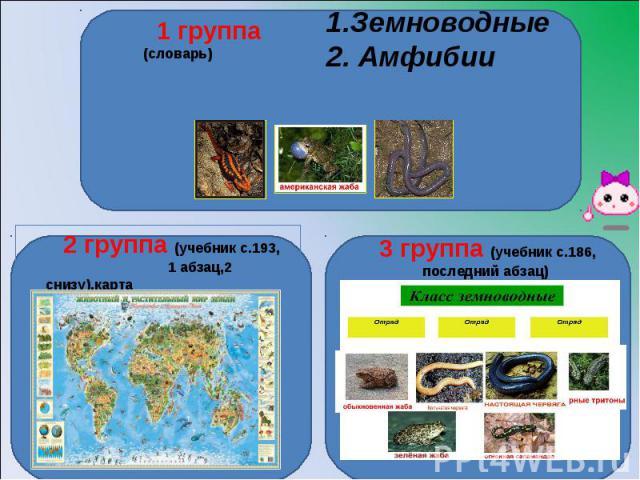 1 группа (словарь)1.Земноводные 2. Амфибии 2 группа (учебник с.193, 1 абзац,2 снизу),карта3 группа (учебник с.186, последний абзац)