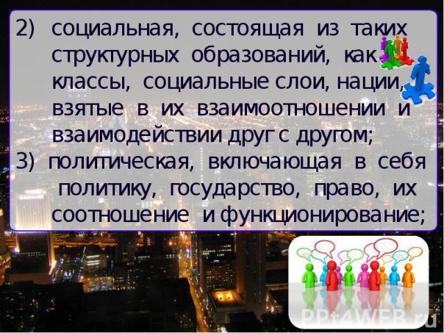 социальная, состоящая из таких структурных образований, как классы, социальные слои, нации, взятые в их взаимоотношении и взаимодействии друг с другом; 3) политическая, включающая в себя политику, государство, право, их соотношение и функционирование;