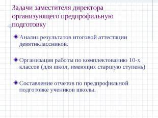Задачи заместителя директора организующего предпрофильную подготовку Анализ резу