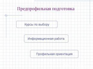 Предпрофильная подготовкаКурсы по выборуИнформационная работаПрофильная ориентац
