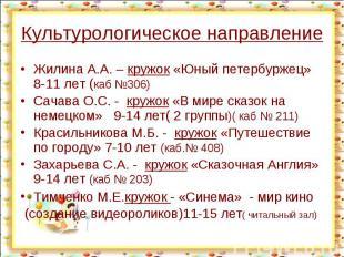 Культурологическое направление Жилина А.А. – кружок «Юный петербуржец» 8-11 лет