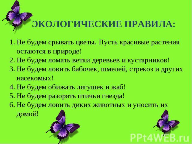 ЭКОЛОГИЧЕСКИЕ ПРАВИЛА:Не будем срывать цветы. Пусть красивые растения остаются в природе!Не будем ломать ветки деревьев и кустарников!Не будем ловить бабочек, шмелей, стрекоз и других насекомых!Не будем обижать лягушек и жаб!Не будем разорять птичьи…
