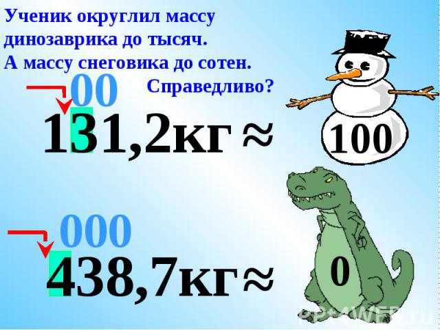 Ученик округлил массу динозаврика до тысяч.А массу снеговика до сотен. Справедливо?