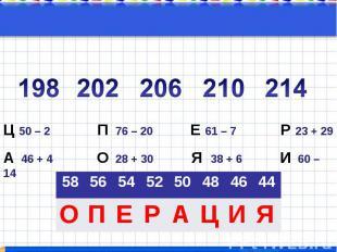 202 206 210Ц 50 – 2 П 76 – 20 Е 61 – 7 Р 23 + 29 А 46 + 4 О 28 + 30 Я 38 + 6 И 6