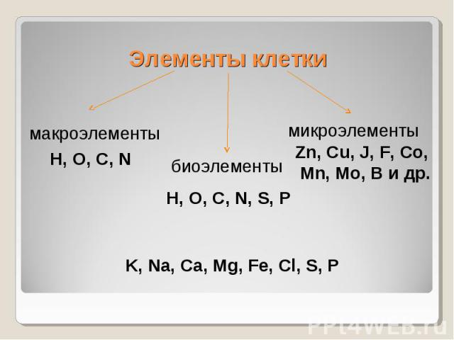 Элементы клеткимакроэлементыH, O, C, NбиоэлементыH, O, C, N, S, PмикроэлементыZn, Cu, J, F, Co, Mn, Mo, B и др.K, Na, Ca, Mg, Fe, Cl, S, P