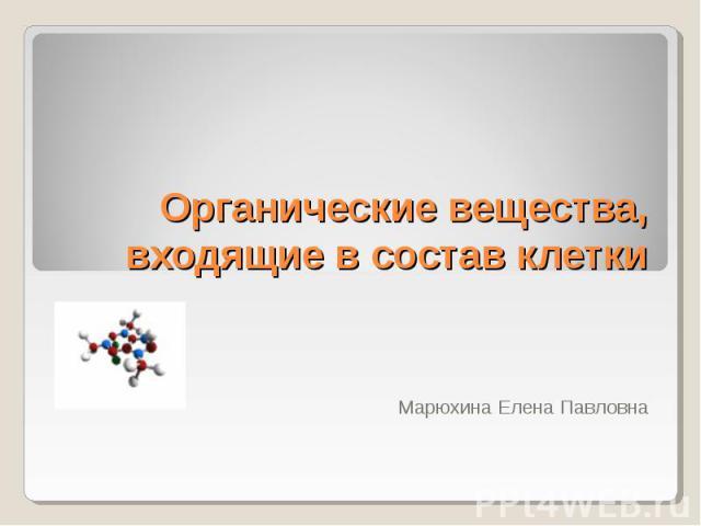 Органические вещества, входящие в состав клетки Марюхина Елена Павловна