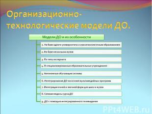 Организационно-технологические модели ДО.