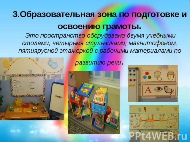 3.Образовательная зона по подготовке и освоению грамоты.Это пространство оборудовано двумя учебными столами, четырьмя стульчиками, магнитофоном, пятиярусной этажеркой с рабочими материалами по развитию речи.