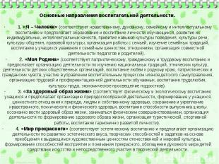 Основные направления воспитательной деятельности. · 1. «Я – Человек» (со