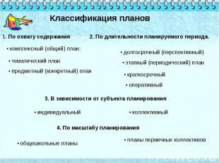 Классификация планов 1. По охвату содержания • комплексный (общий) план: • темат
