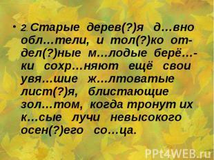 2. Старые дерев(?)я д…вно обл…тели, и тол(?)ко от-дел(?)ные м…лодые берё…-ки сох