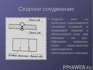 Сварное соединениеСварной шов на чертежах показывается сплошной основной и штрих