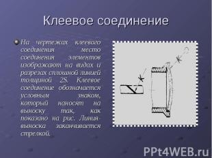 Клеевое соединениеНа чертежах клеевого соединения место соединения элементов изо