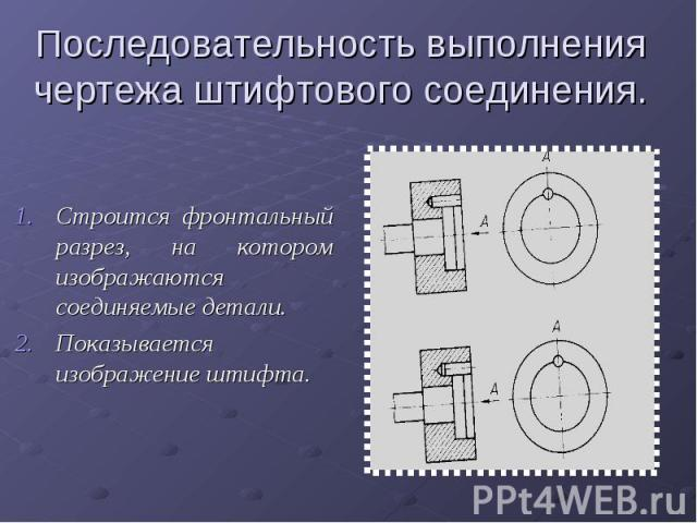 Последовательность выполнения чертежа штифтового соединения.Строится фронтальный разрез, на котором изображаются соединяемые детали.Показывается изображение штифта.