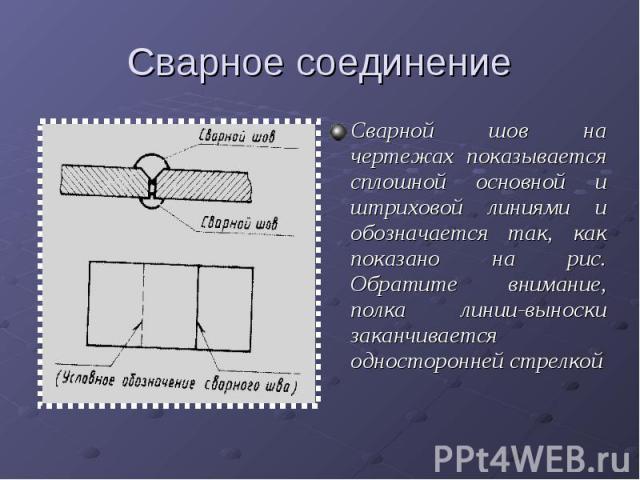 Сварное соединениеСварной шов на чертежах показывается сплошной основной и штриховой линиями и обозначается так, как показано на рис. Обратите внимание, полка линии-выноски заканчивается односторонней стрелкой