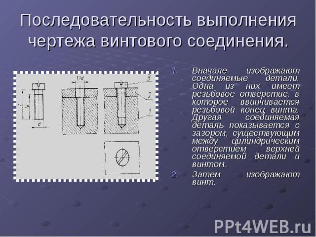 Последовательность выполнения чертежа винтового соединения.Вначале изображают соединяемые детали. Одна из них имеет резьбовое отверстие, в которое ввинчивается резьбовой конец винта. Другая соединяемая деталь показывается с зазором, существующим меж…