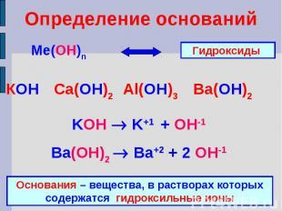 Определение основанийКОН Ca(ОН)2 Al(ОН)3 Ba(ОН)2KOH K+1 + OH-1Ba(ОН)2 Ba+2 + 2 O