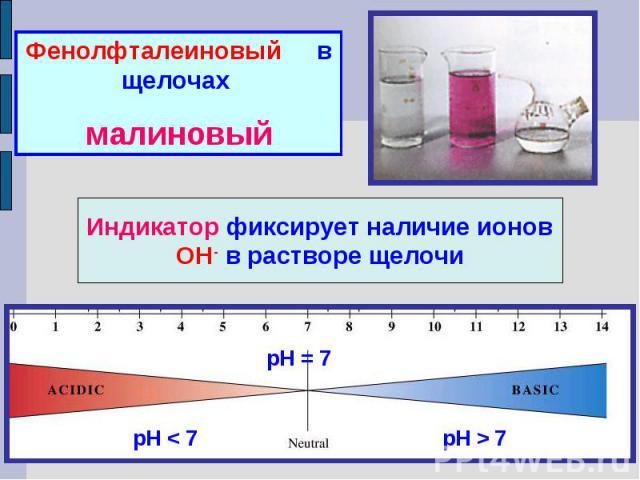 Фенолфталеиновый в щелочах малиновыйИндикатор фиксирует наличие ионов ОН- в растворе щелочи