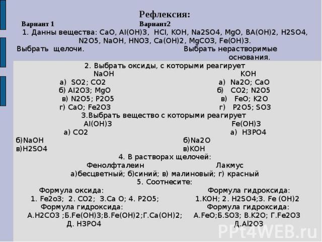 Рефлексия: Вариант 1 Вариант2 1. Данны вещества: CaO, AI(OH)3, HCI, KOH, Na2SO4, MgO, BA(OH)2, H2SO4, N2O5, NaOH, HNO3, Ca(OH)2, MgCO3, Fe(OH)3.Выбрать щелочи. Выбрать нерастворимые основания.2. Выбрать оксиды, с которыми реагирует NaOH KOHa) SO2; C…