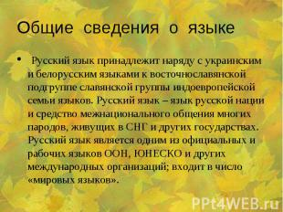 Общие сведения о языке Русский язык принадлежит наряду с украинским и белорусски