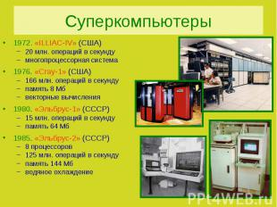Суперкомпьютеры1972. «ILLIAC-IV» (США)20 млн. операций в секундумногопроцессорна