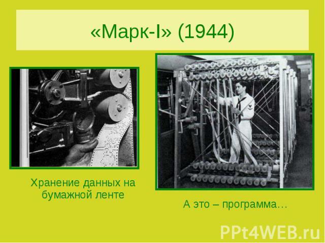 «Марк-I» (1944)Хранение данных на бумажной лентеА это – программа…