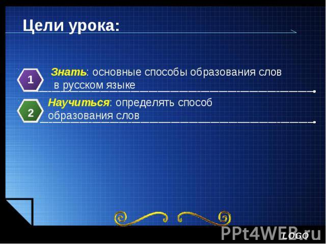 Цели урока:Знать: основные способы образования слов в русском языкеНаучиться: определять способ образования слов