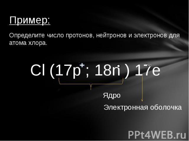 Пример:Определите число протонов, нейтронов и электронов для атома хлора.Cl (17p ; 18n ) 17e ЯдроЭлектронная оболочка