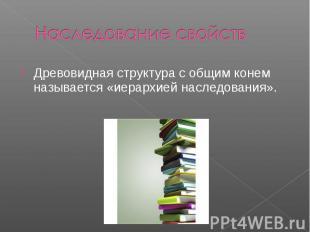 Наследование свойств Древовидная структура с общим конем называется «иерархией н