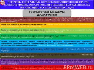ПЕРЕЧЕНЬ ФЕДЕРАЛЬНЫХ ОРГАНОВ ИСПОЛНИТЕЛЬНОЙ ВЛАСТИ, СОДЕЙСТВУЮЩИХ ДОСААФ РОССИИ