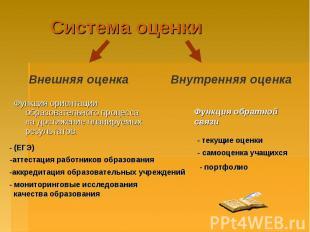 Система оценкиФункция ориентации образовательного процесса на достижение планиру
