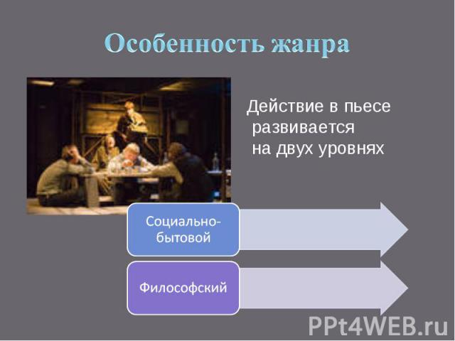 Особенность жанраДействие в пьесе развивается на двух уровнях