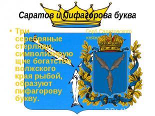 Саратов и Пифагорова букваТри серебряные стерляди, символизирующие богатство вол