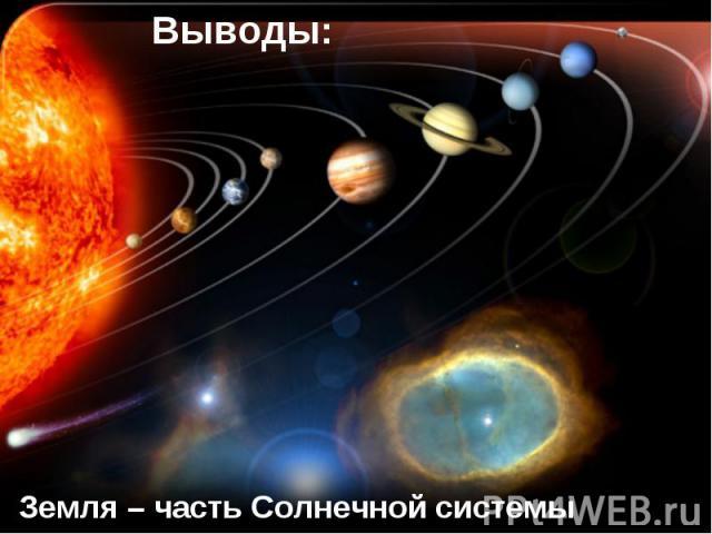 Выводы:Земля – часть Солнечной системы