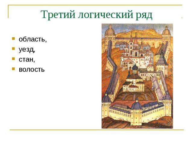 Третий логический рядобласть, уезд, стан, волость
