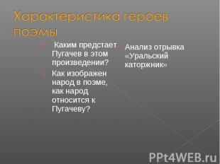 Характеристика героев поэмы Каким предстает Пугачев в этом произведении?Как изоб