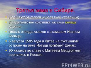 Третья зима в Сибири.Погибают от голода и болезней стрельцы;Предательство союзни