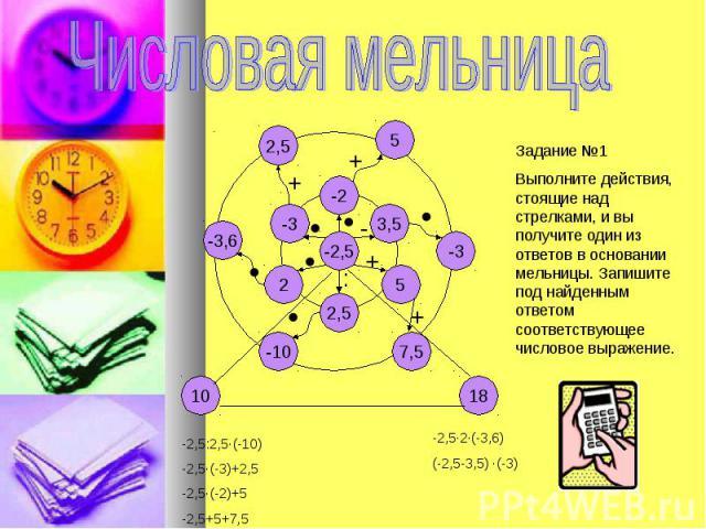Числовая мельницаЗадание №1Выполните действия, стоящие над стрелками, и вы получите один из ответов в основании мельницы. Запишите под найденным ответом соответствующее числовое выражение.-2,5:2,5·(-10)-2,5·(-3)+2,5-2,5·(-2)+5-2,5+5+7,5-2,5·2·(-3,6)…
